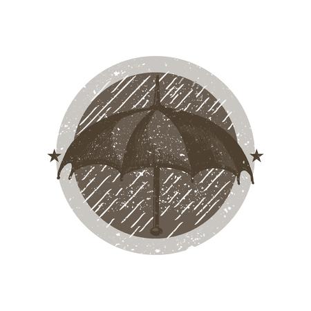 Umbrella in a circle badge vector