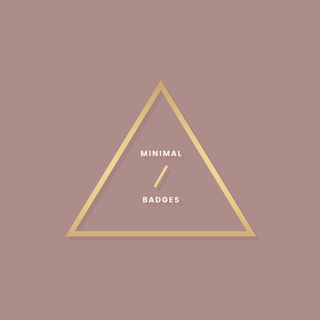 Minimal rose gold triangle badge vector