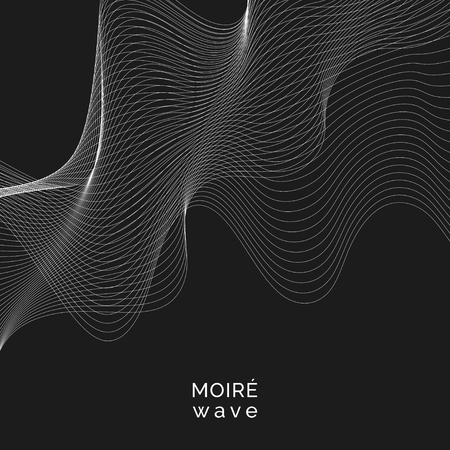 White moiré wave on black background 일러스트