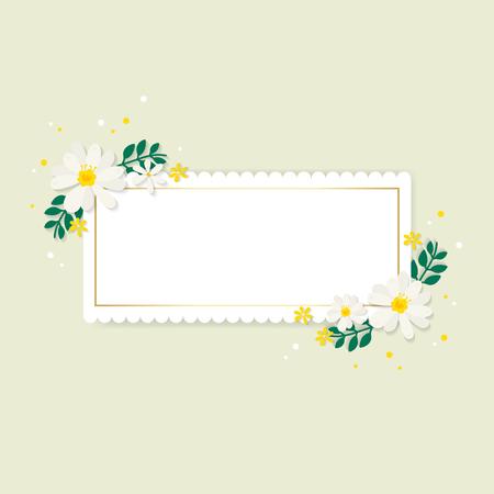 Lente bloemen frame ontwerp vector