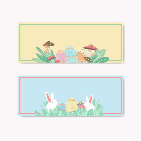 Easter eggs hunt festival banner vector