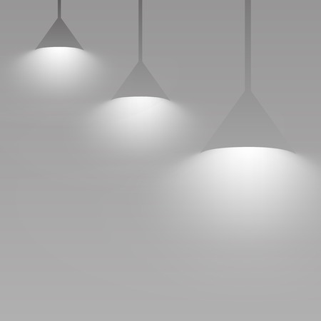 Gray hanging lights glowing vector Banco de Imagens - 124609889