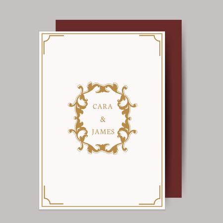 Vintage baroque wedding invitation design 向量圖像