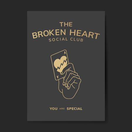 The broken heart social club logo vector Logo