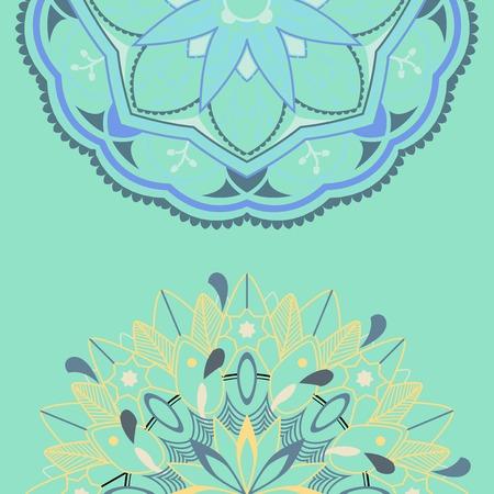 Blue mandala pattern on green background