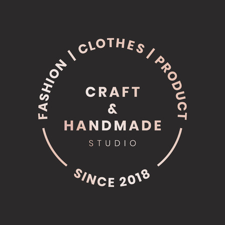 Handmade crafts logo badge vector