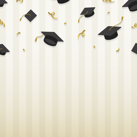 Graduation background with mortar boards vector