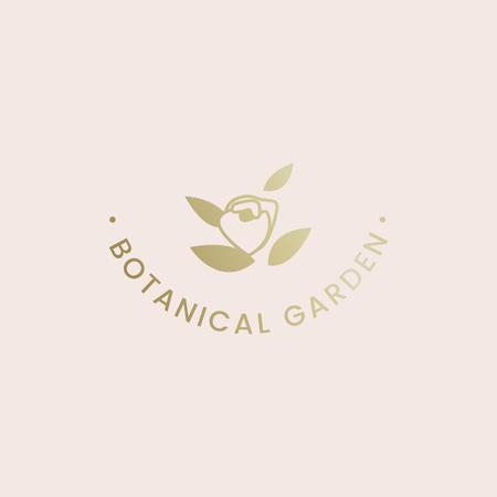 Botanical garden rose badge vector Illustration
