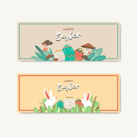Easter eggs hunt festival banner vector