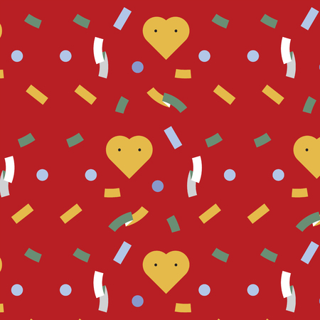 Party confetti and hearts background vector