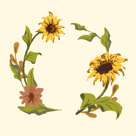 Round sunflower wreath frame vector