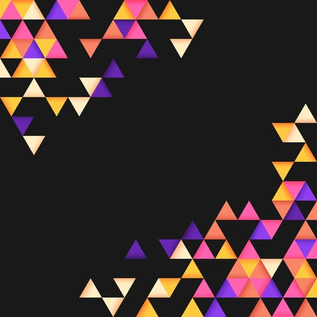 Colorful triangle patterned on black background Иллюстрация