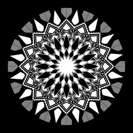 White mandala pattern on white background Illustration