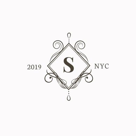 Vecteur d'insigne baroque de style vintage
