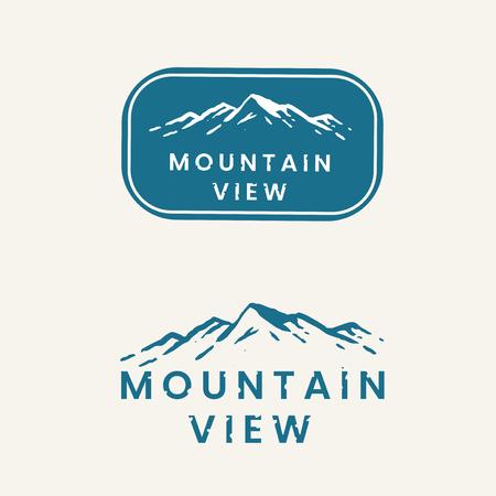Mountain view logo set vector