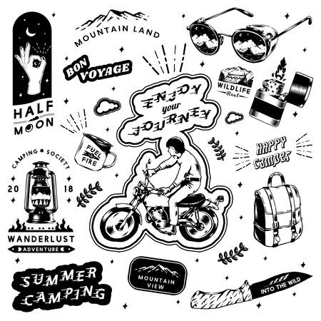 Camping design logo set vectors