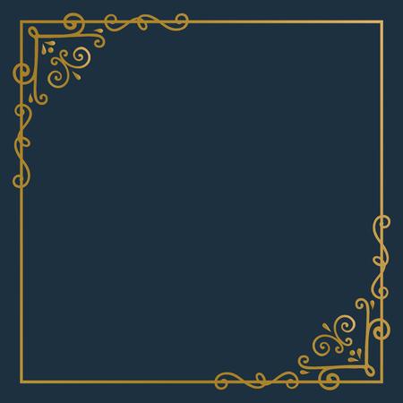 Golden vintage ornament frame vector