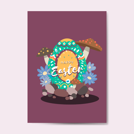 Easter eggs hunt festival greeting card vector