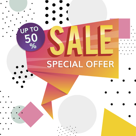 Colorful 50% discount off shop special offer sale promotion badge vector Illustration