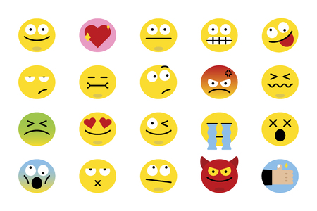 Emoticon facial expression collection vector