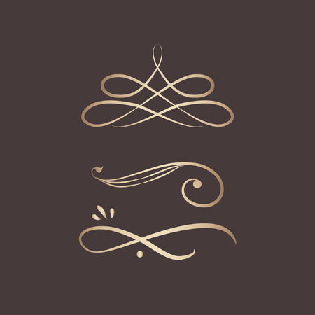 Decorative calligraphic ornaments vector set Stock Illustratie