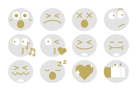 Emoticon facial expression collection vector Ilustração