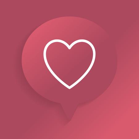 White heart in a redspeech bubble vector