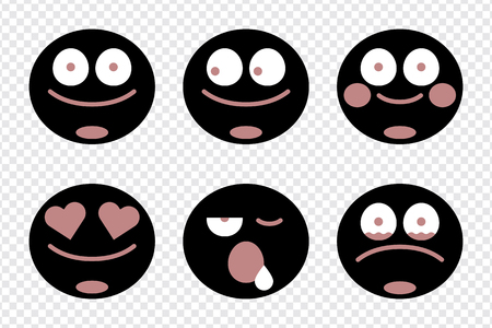 Emoticon facial expression collection vector  イラスト・ベクター素材
