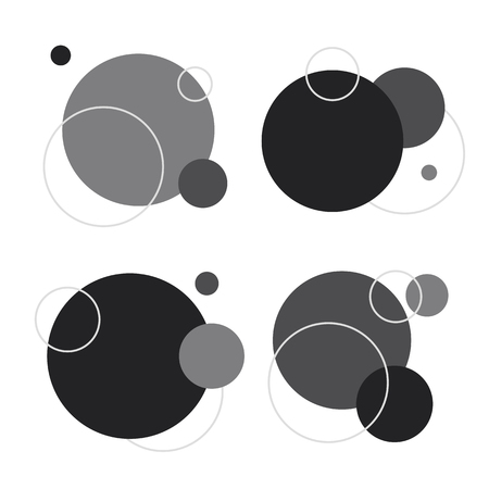 Black and white circle geometric pattern background vector