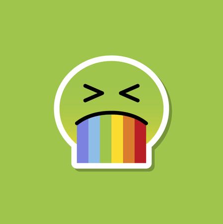 Green emoji puking rainbow vector