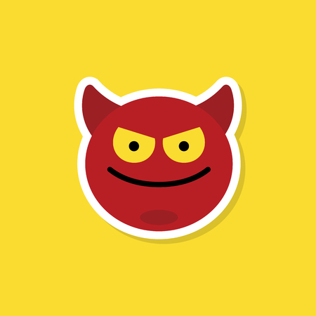 Naughty red devil emoji vector Çizim