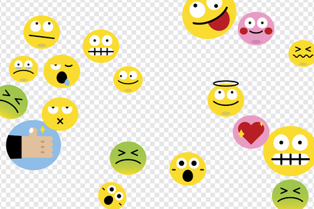 Emoticon facial expression collection vector Çizim