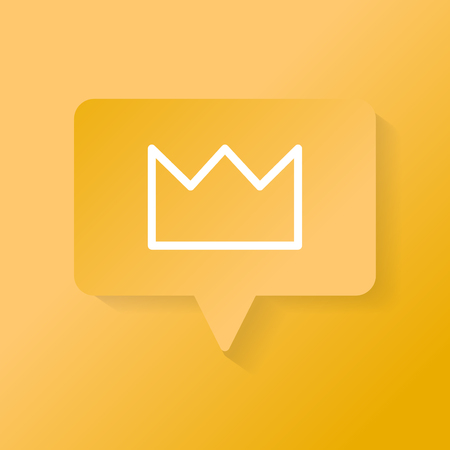 White crown icon on a yellow speech bubble vector Illustration