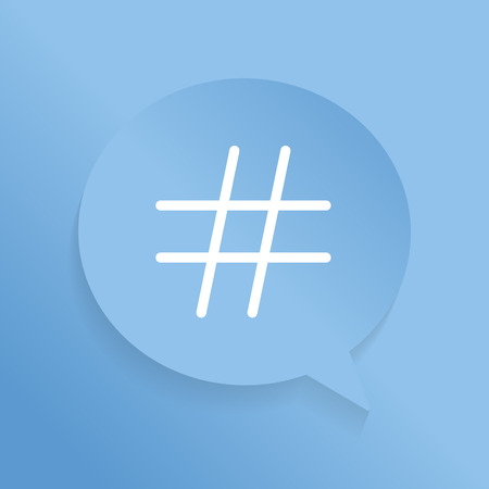 White hashtag icon in a blue speech bubble vector