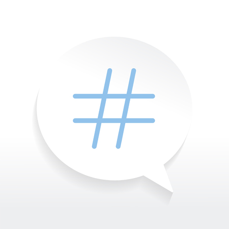 Blue hashtag icon in a white speech bubble vector Illustration