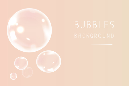 Soap bubbles on a peach background vector