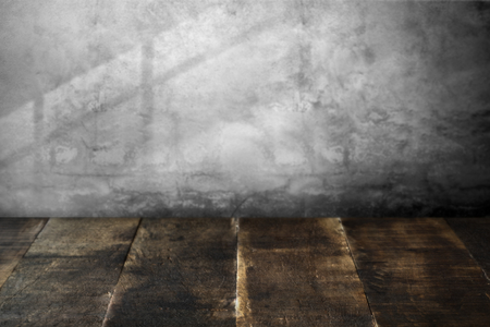 Rustic wooden planks with concrete wal Standard-Bild - 118719254