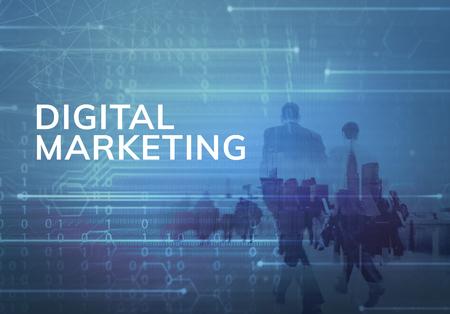 Digital business people in the blue 写真素材