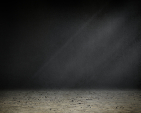 Grunge blackboard with a dirt floor