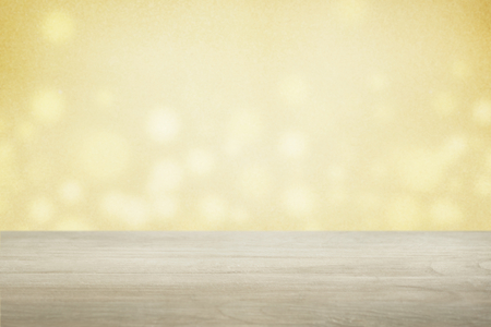 Yellow bokeh wall with beige floor product background