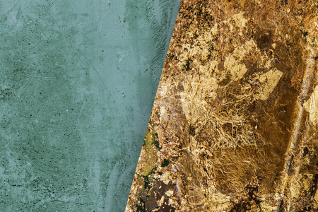 Green and golden marble textured background