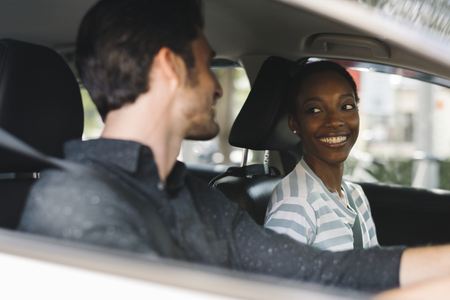 A happiness couple in a car Stock Photo
