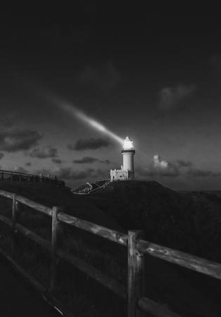 Lighthouse on the mountain at night 版權商用圖片