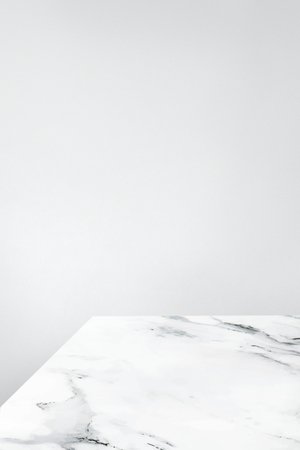 Plain gray wall with white marble table product background