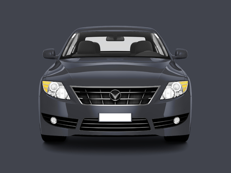 Front view of a gray sedan in 3D