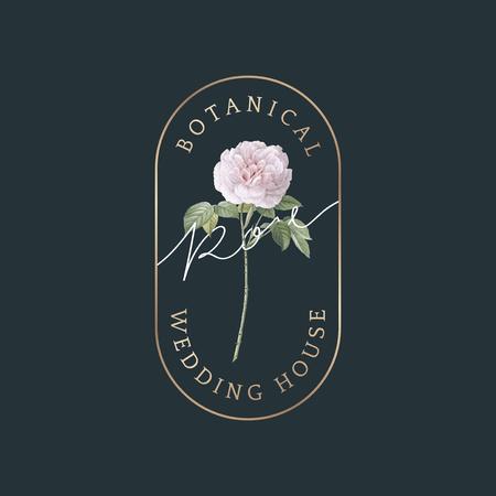 Botanical rose wedding house vector