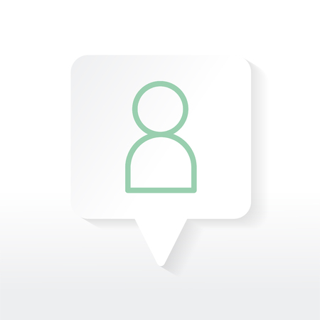 Green avatar icon in a white speech bubble vector