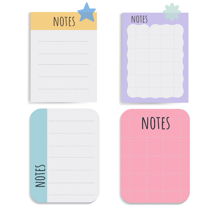 Cute note papers vector set