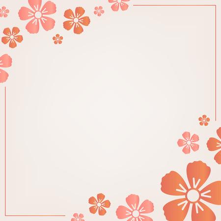 Orange flower border frame vector Stock Illustratie