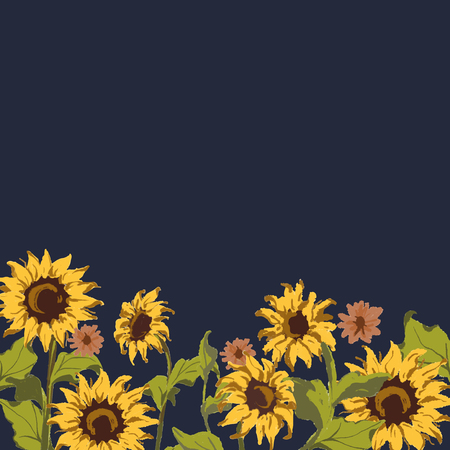 Sunflower pattern with a navy blue background 写真素材 - 124355429